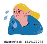 little afraid girl crying and... | Shutterstock .eps vector #1814133293