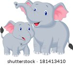 mother and baby elephant | Shutterstock .eps vector #181413410