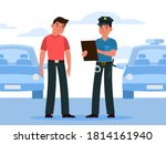 policeman writes a ticket.... | Shutterstock .eps vector #1814161940
