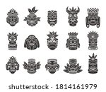 Idol Mask. Black Silhouette...