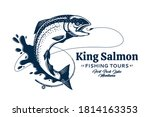 Vector Fishing Logo With Salmon ...