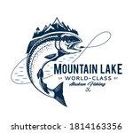 vector mountain lake fishing...   Shutterstock .eps vector #1814163356