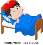 sick boy lying in bed   Shutterstock .eps vector #181419056