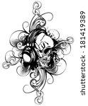 vector illustration human skull ...   Shutterstock .eps vector #181419389