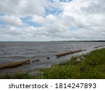 Apalachicola, Florida - 9/13/2020: Intentionally Grainy or Out of Focus Photo of Ocean in Apalachicola, Florida Due to Strong Winds of Tropical Storm Sally