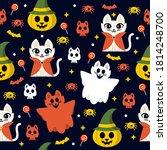 cute and kawaii cat seamless... | Shutterstock .eps vector #1814248700
