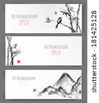 banners with bamboo  mountains... | Shutterstock .eps vector #181425128
