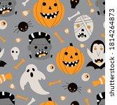 halloween vector repeat pattern ...   Shutterstock .eps vector #1814264873
