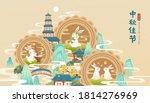 jade rabbits enjoying pomelo ... | Shutterstock .eps vector #1814276969