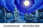 Cemetery At Night With Full...