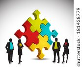 business people and puzzle... | Shutterstock .eps vector #181428779