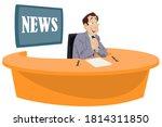 Happy Man News Anchor Or...