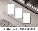 Three vertical billboards on underground stairs wall Mockup. Triptych hoardings advertising in white tiles reflecting tunnel interior. 3D rendering