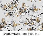 seamless wallpaper pattern.... | Shutterstock .eps vector #1814400413