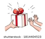 human hands giving gift box to... | Shutterstock .eps vector #1814404523