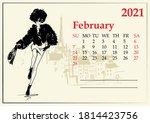 february. 2021 calendar with...   Shutterstock .eps vector #1814423756