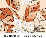 tropical vector seamless flower ...   Shutterstock .eps vector #1814437433