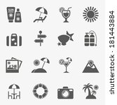 vacation icons  vector. | Shutterstock .eps vector #181443884