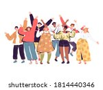 a crowd of joyful people with... | Shutterstock .eps vector #1814440346