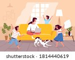 mom works at home on a laptop... | Shutterstock .eps vector #1814440619
