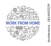 work from home circle poster... | Shutterstock .eps vector #1814455229