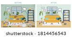 dirty and clean room before and ... | Shutterstock .eps vector #1814456543