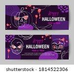 purple halloween holiday banner ... | Shutterstock .eps vector #1814522306