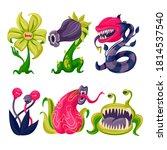Cartoon Color Carnivore Plants...