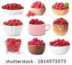 Set Of Fresh Ripe Raspberries...