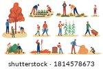 autumn gathering. men  women... | Shutterstock .eps vector #1814578673