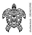 sea turtle in maori tattoo...   Shutterstock .eps vector #1814621900