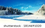 snowy winter forest road... | Shutterstock . vector #1814691020