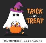 cute halloween ghost hold... | Shutterstock .eps vector #1814710346