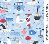 children's drawings. seamless... | Shutterstock .eps vector #1814757899