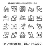 working from home  bold line...   Shutterstock .eps vector #1814791310