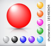collection of colorful glossy... | Shutterstock .eps vector #181483604