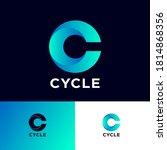 c letter monogram. cycle logo...