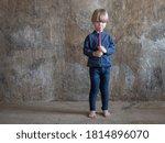 Funny Blond Boy In Blue Shirt...