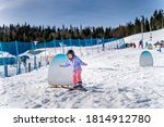 Young Happy Skier Girl Learning ...