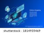 online shopping flat 3d... | Shutterstock .eps vector #1814935469