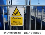 Warning Sign Attached On Metal...