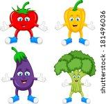 funny cartoon cute vegetables  | Shutterstock . vector #181496036