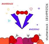 groom suit filled line vector...