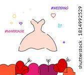 bride dress filled line vector...
