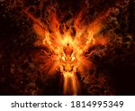 3d Rendered Fire Dragon Face