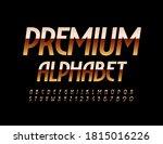 vector premium alphabet. golden ... | Shutterstock .eps vector #1815016226