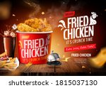 delicious fried chicken set on... | Shutterstock .eps vector #1815037130