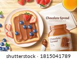 chocolate spread ads in 3d...   Shutterstock .eps vector #1815041789