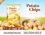 salty flavoured potato chips... | Shutterstock .eps vector #1815041813