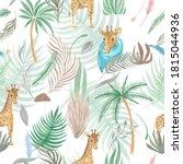 seamless pattern of safari... | Shutterstock . vector #1815044936